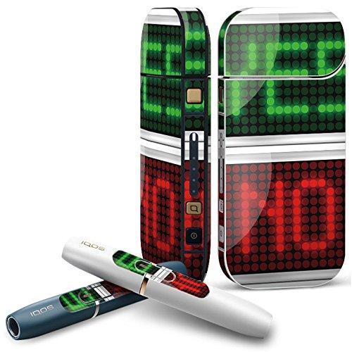 IQOS 2.4 plus 専用スキンシール COMPLETE アイコス 全面セット サイド ボタン デコ ユニーク デジタル 英語 緑 赤 006128