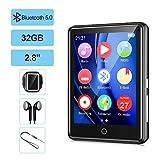 32G Reproductor MP3 Bluetooth 5.0 JBHOO 2.8' MP3 Running con Altavoz, FM Radio, Podómetro, Grabación, Soporte de Pantalla Táctil Completa de hasta 128 GB (Cordón, Brazalete Deportivo Incluido)