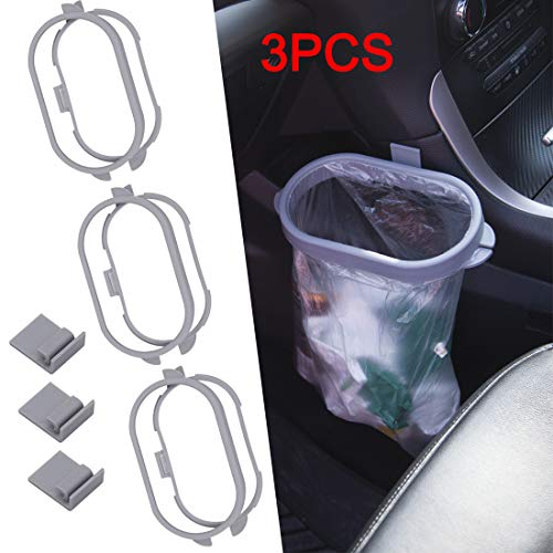 Marelynm Trash Bag Holder for Car Hanging Trash Can Garbage Bag Bracket Auto Trash Container for Kitchen, Car Interior, Office 3 PCS (Gray)