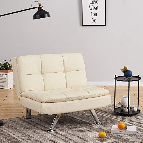 Sofá moderno de 1 plaza, de piel sintética, acolchado, para salón, capacidad máxima de 100 kg (crema)