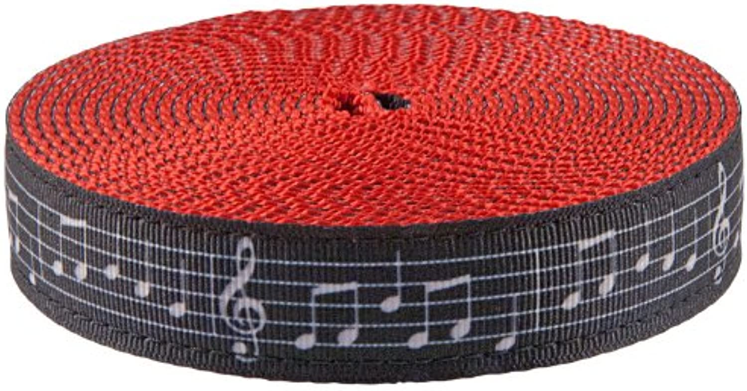Country Brook Design 1 Inch Sheet Music Ribbon on Red Nylon Webbing, 20 Yards