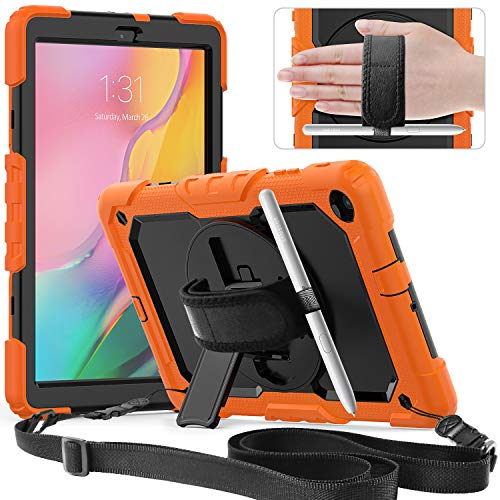 Timecity Funda Compatible con Samsung Galaxy Tab A 10.1'2019 / SM-T510/ T515, con Protector de Pantalla Incorporado y Pata de Cabra Giratoria de 360 Grados y Correa de Mano y Hombro - Naranja