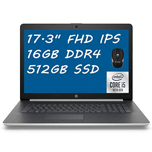 Flagship HP 17 Laptop Computer 17.3' Full HD IPS Display 10th Gen Intel Quad-Core i5-1035G1 (Beats i7-8550U) 16GB DDR4 512GB SSD DVD Backlit KB WiFi HDMI Webcam Win 10 + iCarp Wireless Mouse