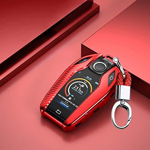 ontto Autoschlüssel Hülle Cover fürBMW 7er 5er i8 Display740i 750Li 528Li 540Li G11 G12 G30 G31 X3 G01 Schlüsselhülle mit Schlüsselanhänger Weiche TPU Schlüssel Schutz Etui Case-Rot