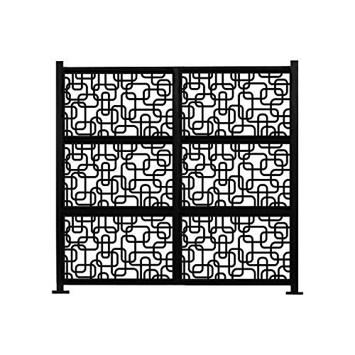 Buy Bargain Freestanding Modular Metal Privacy Screen 6ftx 8ft Black Modern Contemporary Rectangular