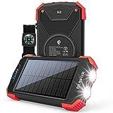 Solar Charger Power Bank, Qi Wireless Charger 10,000mAh External Battery Pack Type C Input Port Dual Flashlight, Compass, Solar...