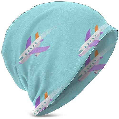 Speciale winkel vliegtuig vliegen in de hemel winter beanie sjaal voor jongens meisjes hoeden cirkel sjaal Slouchy Skull Cap