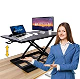 Standing Desk Converter,32 Inch Computer Workstation Adjustable Height for Laptop and Computer Monitors,Sit to Stand Desktop Desk for Home and Office,Large&Stable