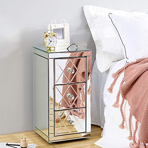 Mirrored Furniture Glass 3 Drawers Bedside Cabinet Table Nightstand Glass Mirror Storage Unit on Living Room, Bedroom, Office, 30 x 30 x 58 cm
