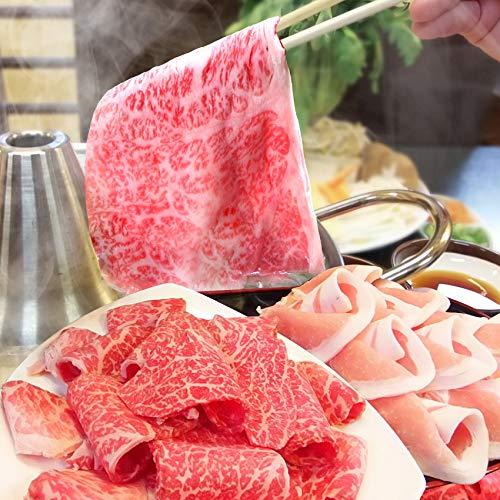 讃岐オリーブ牛&讃岐オリーブ豚しゃぶしゃぶ2人前セット 野菜・うどん付き 《*冷蔵便》