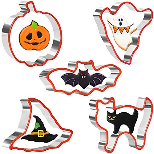 Halloween Ausstechformen Set 5 Stück Edelstahl Halloween Ausstecher Set Keksausstecher mit schützendem weichen Silikonrand zum Backen - Kürbis, Fledermaus, Geist, Hexenhut und Katze