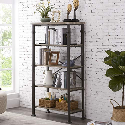 Hombazaar 5-Tier Modern Industrial Bookshelf with Sturdy Metal...