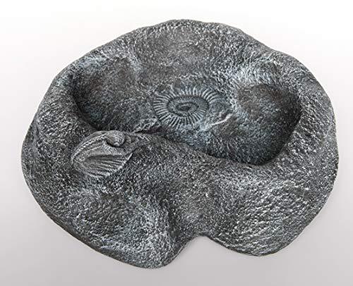 Tiefes Kunsthandwerk Vogeltränke für den Garten, Frostsicher, Vogelbad aus Stein (Schiefergrau)