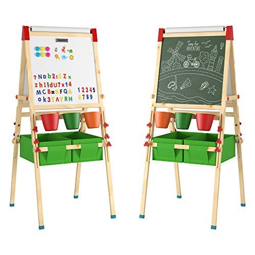 Homfa Kinder Staffelei Kindertafel Doppelseitige Standtafel Magnet Spieltafel Kreidetafel mit Aufbewahrungsbox und Papier Rollen Halter Whiteboard für Kinder höhenverstellbar Holz 55 x 55,5 x 141 cm