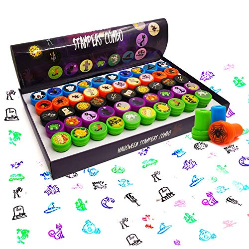 ATDAWN 50 Pieces Halloween Assorted Stamps, Kids Self-Ink Stamps, Plastic Stamps, Trick Or Treat Stamps, Spooky Stamps Including 25 Different Designs for Halloween Party Favors, Game Prizes, Halloween