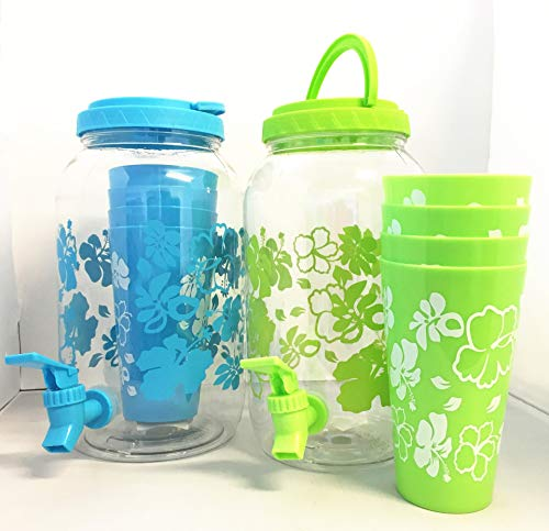 Set of 2 All For You Plastic Gallon Cold Beverage Dispenser with 8 cups Party Buffet for Cocktails and All Drinks