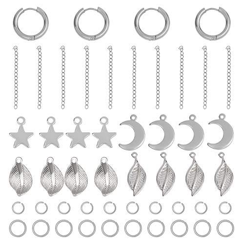 UNICRAFTALE 84pcs Kits de Fabricación de Aretes Colgantes Acero Inoxidable Pendiente de Aro Extensor de Cadena Hoja/Estrella/Luna con Colgantes de Estrella Anillos de Salto Color de Metal