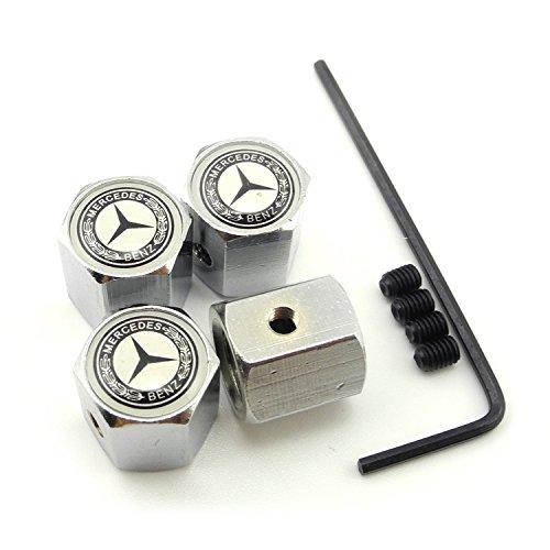 Searlleng Tapas de válvula de neumático de coche para Mercedes-Benz (aleación de zinc, un conjunto de cuatro unidades)