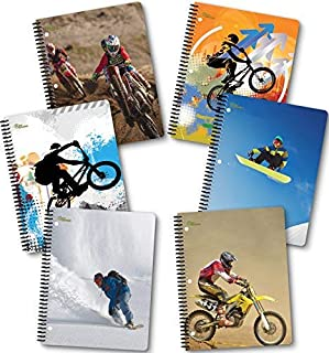 NEW GENERATION – Sport Extreme – Fashion Wire Bound Spiral Notebooks, Wide Ruled 1 Subject 70 Sheets, 8 x 10.5 inches, 3 Hole Punch Perforated Sheets – 6 Pack Great for School, Home,