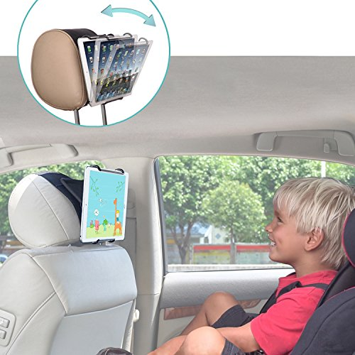 TFY Universal Car Headrest Mount Holder with Angle- Adjustable Holding Clamp for Tablets -Compatible with iPad 2/3 / 4 - iPad Mini - iPad Air - iPad Pro - Samsung Galaxy Tab S2 - Tab A and More