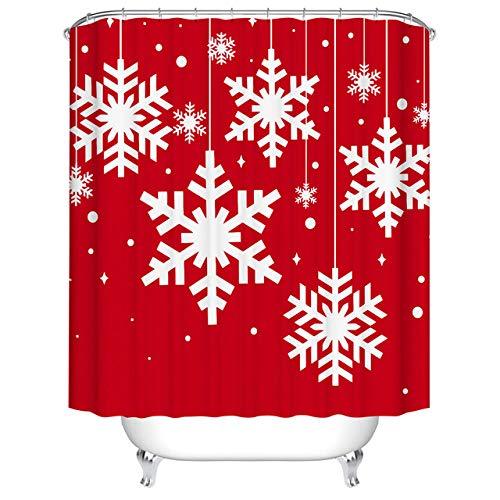 NOBRAND Vrolijke Kerst Douchegordijnen Badkamer Gordijn Snowman Sneeuwvlok Stof Douchegordijn Waterdicht Polyester met Haken -7_W150xH180cm