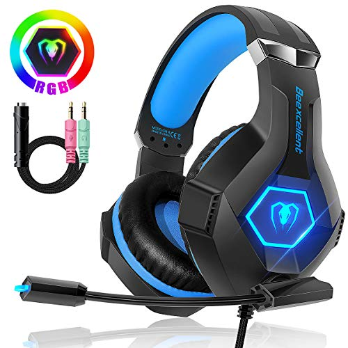 Beexcellent Gaming Headset Stereo Surround Sound Gaming Headphones with Breathing RGB Light & Flexiable Mic for PS4 PC Xbox One(S/X) Laptop Mac