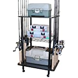 Rush Creek Creations 12 Fishing Rod Tackle Cart - 5 Minute Assembly, Black (40-0001)