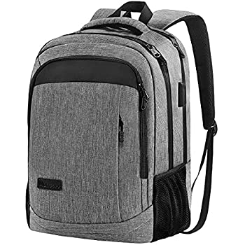 Monsdle Travel Laptop Backpack Anti Theft Water Resistant Backpacks School Computer Bookbag with USB Charging Port for Men Women College Students Fits 15.6 Inch Laptop  Grey