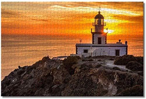 DINGQING Grecia Santorini Akrotiri Lighthouse Rompecabezas para Adultos Niños Juego de Rompecabezas de Madera de 500 Piezas para Regalos Decoración del hogar Recuerdos Especiales de Viaje