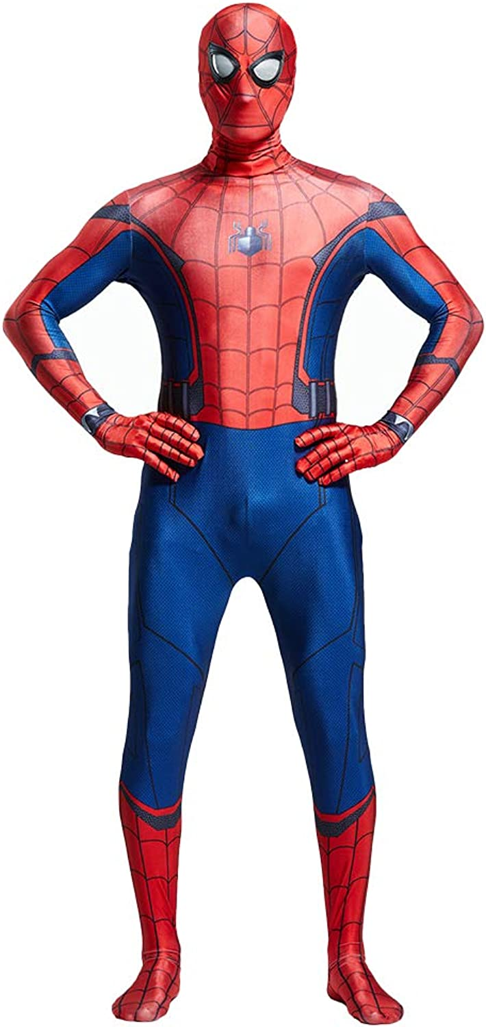 SpiderMan  Homecoming, Red Spiderman Costume Adult Men Women Zentai Clothing Halloween Lycra Elastic Tights Movie Stage Costume Props