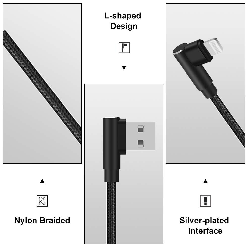 aceyoon Lightning Cable 90 Grados MFi Certificado Lightning 30cm 2 ...