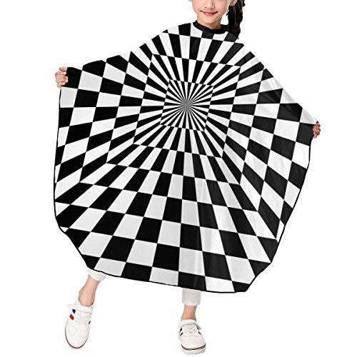 Bandera de Carreras de ilusión óptica Capa de Corte de Pelo para niños Capa de champú Cubierta de Capas de salón Cortes de Pelo Impermeables Ajustables Delantal Paño para peinar el Cabello