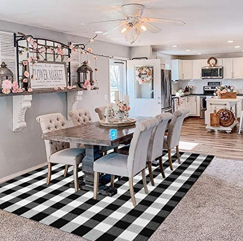 EARTHALL Cotton Buffalo Black and White Plaid Rugs 5 5 x7 5 Hand Woven Checkered Area Rug Washable product image