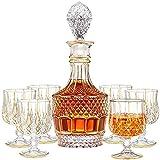 ROSG Piece Whisky Decanter Set con tapón de Vidrio, línea de Cristal de Vino de línea de Oro con 6 Gafas de Whisky, para escocés, Bourbon, Vodka, Caja de Regalo Hermosa, Conjunto de 7,Style One