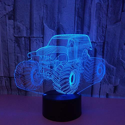 3D cartoon tractor nachtlampje LED optische illusie lamp 7 kleuren touch schakelaar bureaulamp voor slaapkamer kantoor kinderkamer decoratie licht