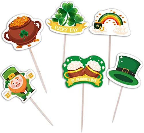 St Patrick s Day Cupcake Toppers Picks Shamrock Irish Lucky Toothpicks Cake Decorations Party product image