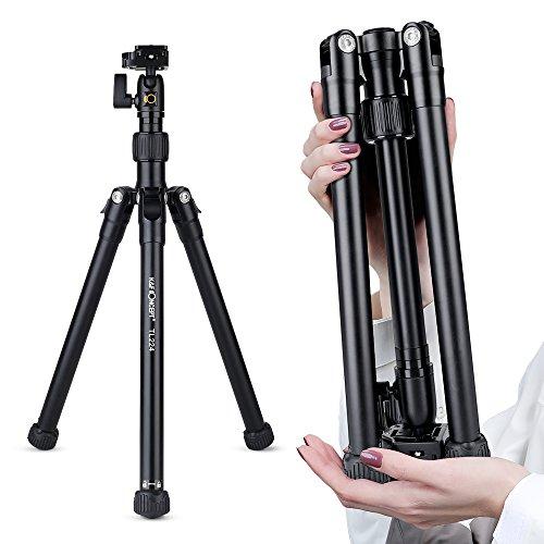 K&F Concept TL224 Professionelle Kamerastativ Reisestativ Fotostativ mit Kugelkopf und Tragetasche für DSLR Kamera Handys Max. Arbeitshöhe 151 cm Gewichtskapazität 3Kg