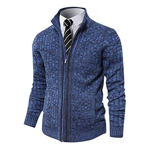 Pioneer Camp Men's Full Zip Up Sweaters Cardigan Stand Collar Slim Fit Casual Knitted Sweater with 2 Front Pockets (Navy Blue, M)