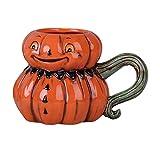 Johanna Parker Jack-o-Lantern Head with Green Stem Handle Dolomite Ceramic Halloween Mug