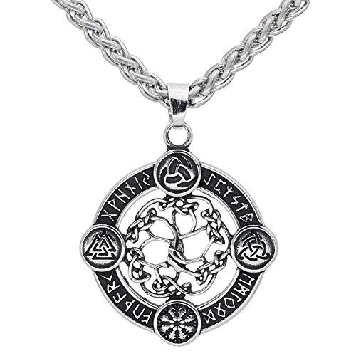 LoverInDec Anhänger-Halskette aus Edelstahl mit Geschenkbeutel, Wikinger, nordischer Kompass, Vegvisir, Odin, Amulett
