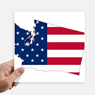 DIYthinker Washington America Map Stars Stripes Flag Square Stickers 20cm Wall Suitcase Laptop Motobike Decal 4pcs 8 inch x 8 inch(20cm x 20cm)