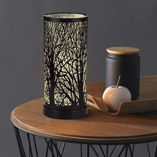 EASYmaxx Indoor Frühlings Deko Tischleuchte Laterne Lampe Magic Touch Waldmotiv Baum Stimmungslicht (1er Pack)