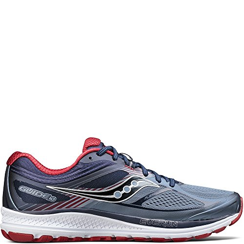 Saucony Men's Guide 10 Running Shoes, Grey Navy, 8 D(M) US