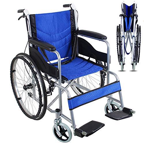 EJOYDUTY Folding Selbst Propel Rollstuhl Leichte Mobilität Gerät für Senioren, Behinderte und Behinderte Benutzer mit Handbremsen und Quick Release-Räder 24 Zoll Räder,Blau