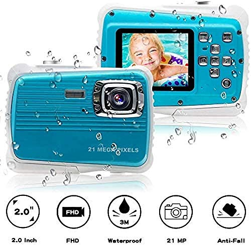 LILAODA wasserdichte Kinderkamera 21MP HD Unterwasser-Action-Digitalkamera für Kinder mit 2,0 LCD 8X Digitalzoom-Blitz und Mikrofon für Mädchen/Jungen Perfect