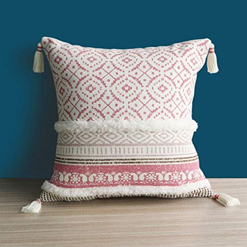 Dremisland Morocco Tufted Boho Pillow Covers 18X18 Inch - Square Throw Pillow Cases Woven Pillowcase Soft Cushion Cover for Sofa Couch Bedroom Car Living Room with Invisible Zipper 45x45cm(Pink)