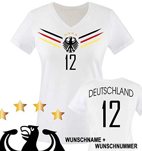 Comedy Shirts - Deutschland WM 2014-12 - Damen V-Neck T-Shirt - Weiss/Schwarz-Rot-Gelb Gr. L