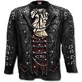 Gótico del abrigo, de metal gótico de la fantasía camisa para hombre de manga larga y chaqueta de toda la superficie de impresión negro - L - Espiral