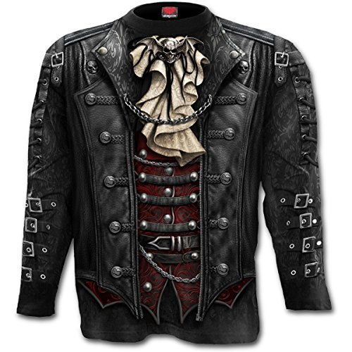 Spiral - Goth WRAP - Langarmshirt mit Allover-Motiv - Schwarz - XXL