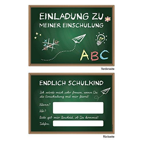 10 Einladungskarten DIN A6 zum Schulanfang Einschulung Schulstart 1.Schultag Schultüte und Tafel Kinder Schulkind ABC-Schütze Einladung